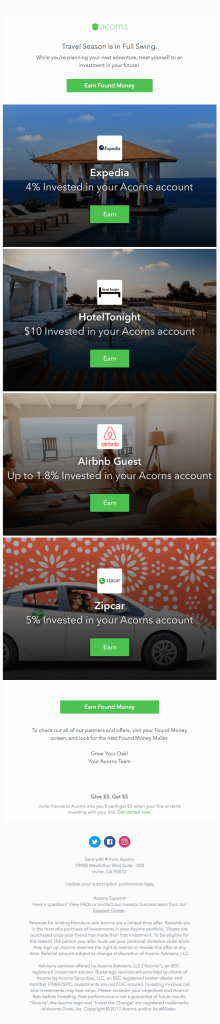 Behavioral Emails - Referral Request Email -  Acorns
