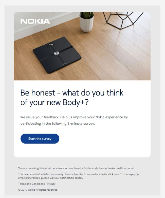 Behavioral Emails - Survey Email - Nokia