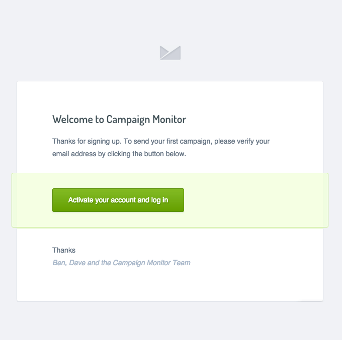 Onboarding Emails - Activation Email - Campaign Monitor