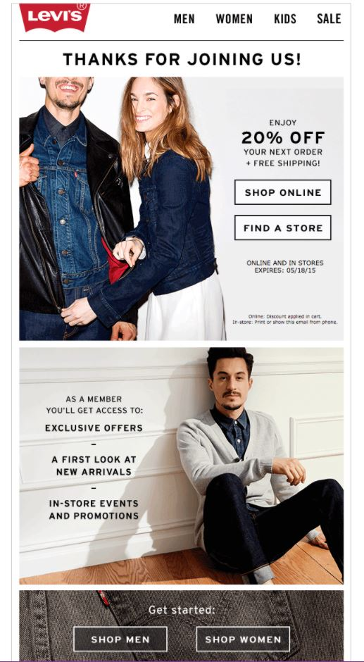 Onboarding Emails - Welcome Email - Levi's