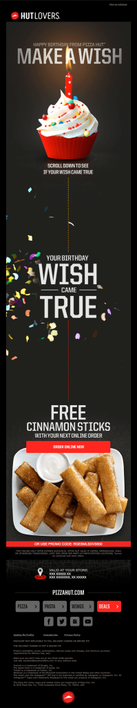 Promotional Emails - Birthday Email - Pizza Hut