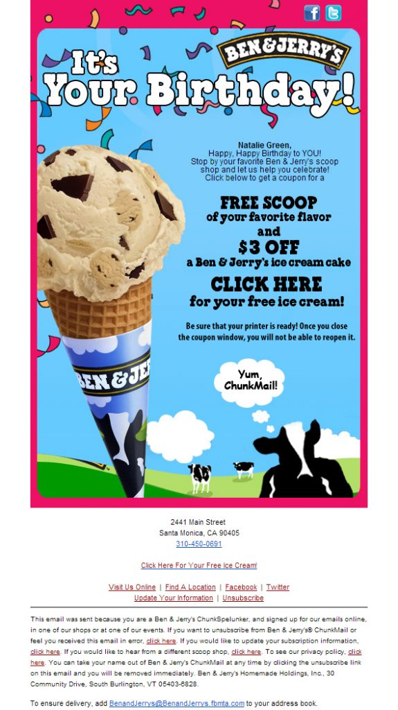 Promotional Emails - Birthday Email - Ben & Jerry's