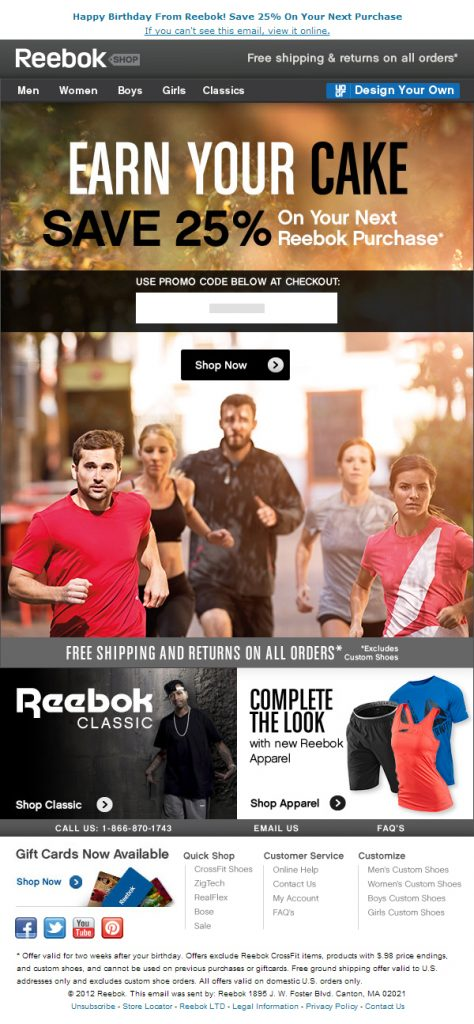 Promotional Emails - Birthday Email - Reebok
