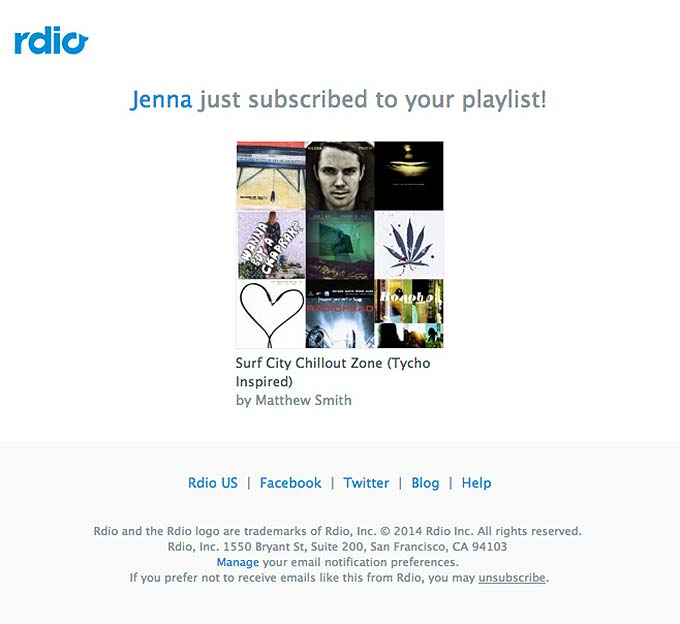 Promotional Emails - Informational Email - Rdio