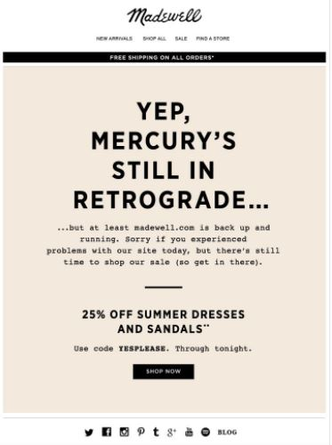 Promotional Emails - Apology Email - Madewell