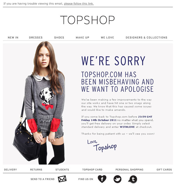 Promotional Emails - Apology Email - Topshop