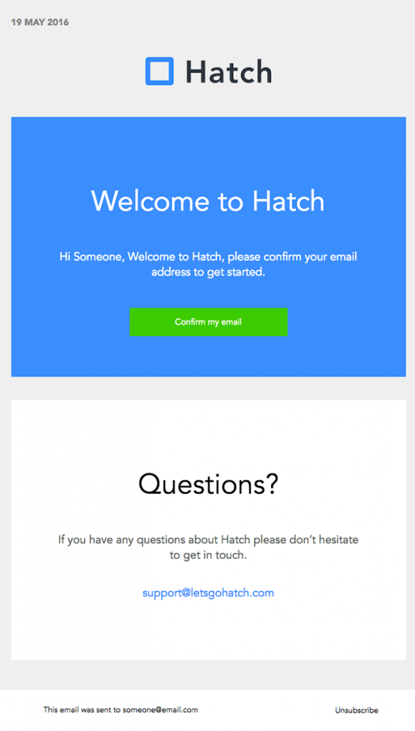 Subscriber Emails - Sign Up Confirmation Email - Hatch