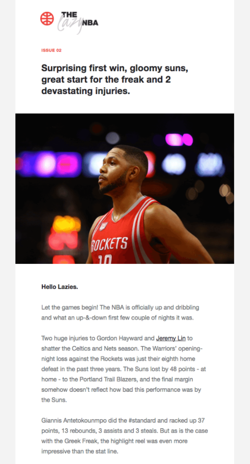 Subscriber Emails - Newsletter Email - The Lazy NBA Newsletter