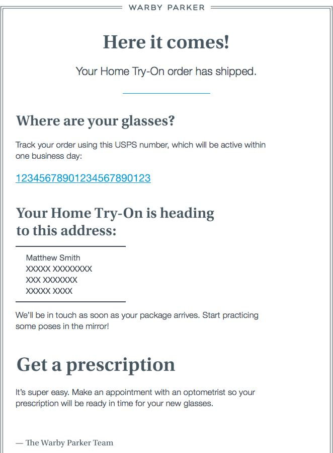Transactional Emails - Shipping Confirmation Email - Warby Parker