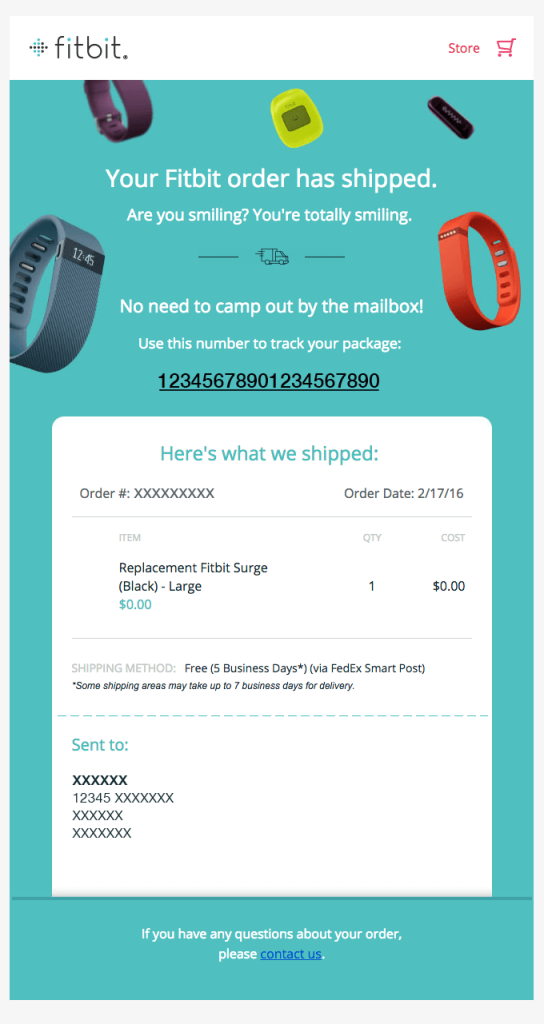 Transactional Emails - Shipping Confirmation Email - Fitbit