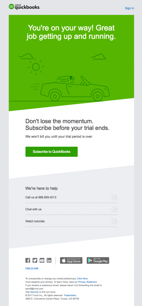 Transactional Emails - Subscription Email - Quickbooks