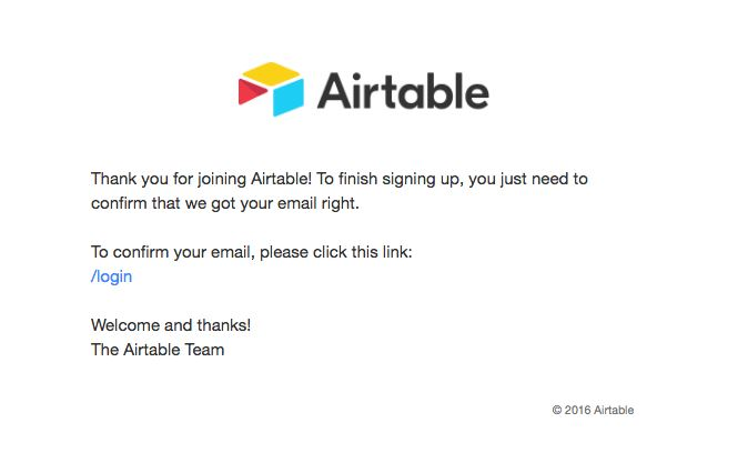 Transactional Emails - Subscription Email - Airtable