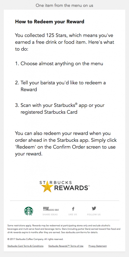 Transactional Emails - Rewards Email - Starbucks
