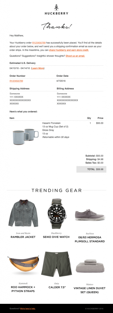 Transactional Emails - Receipt Email - Huckberry
