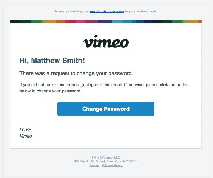 Transactional Emails - Password Reset Email - Vimeo