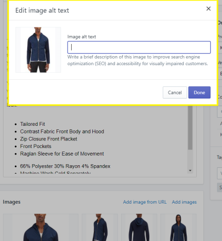 SEO for Shopify Product Image Alt Tag