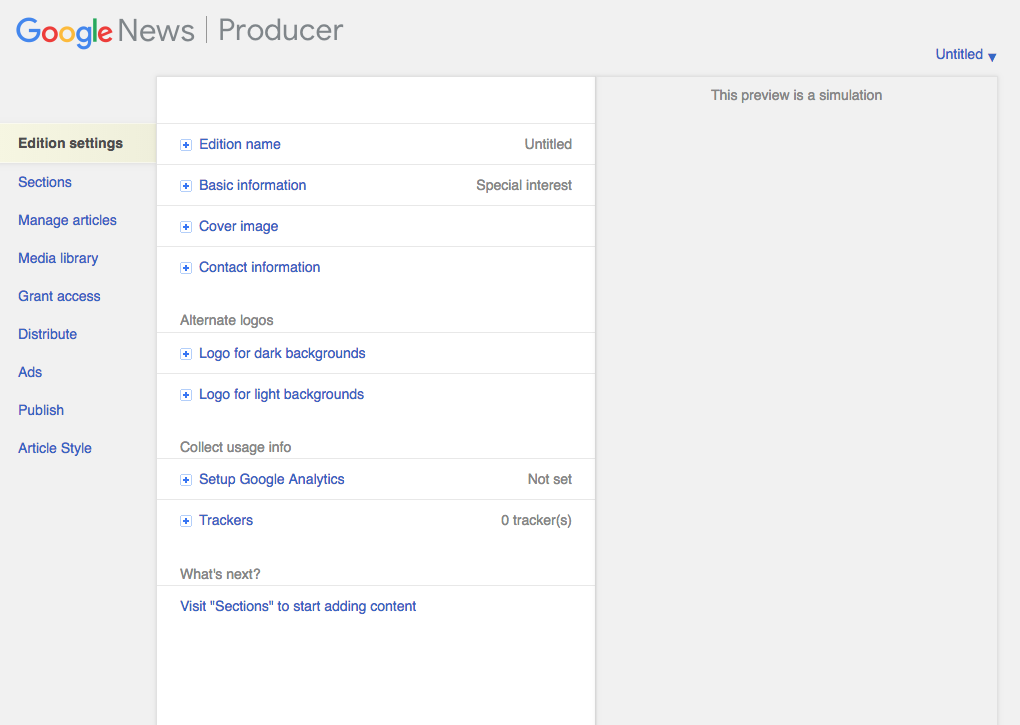 Google News Producer Edition Settings