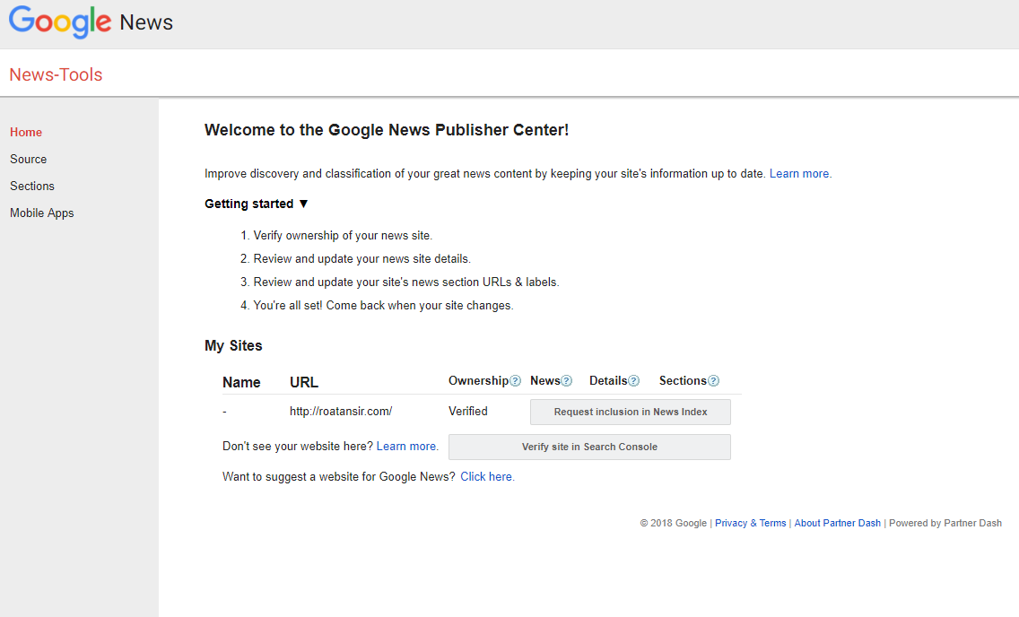 Google News Publisher Center verification