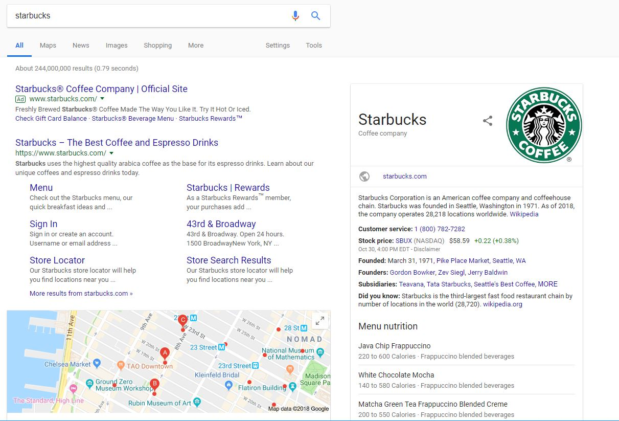 Starbucks Google Knowledge Panel - Chainlink Relationship Marketing