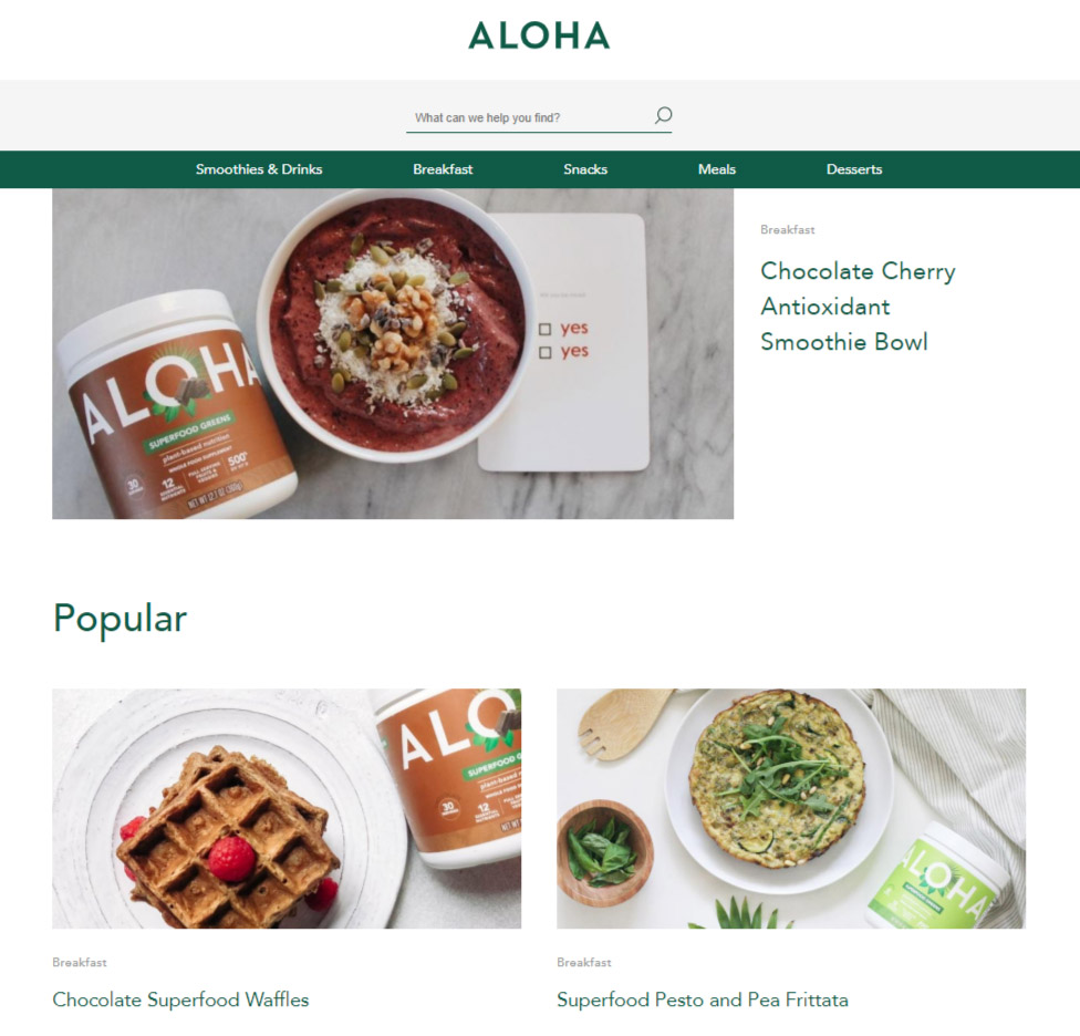 Ecommerce Website Content - ALOHA Food Brand - Chainlink Relationship Marketing
