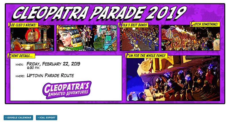 Event Page Image Example - Krewe of Cleopatra - Chainlink Relationship Marketing