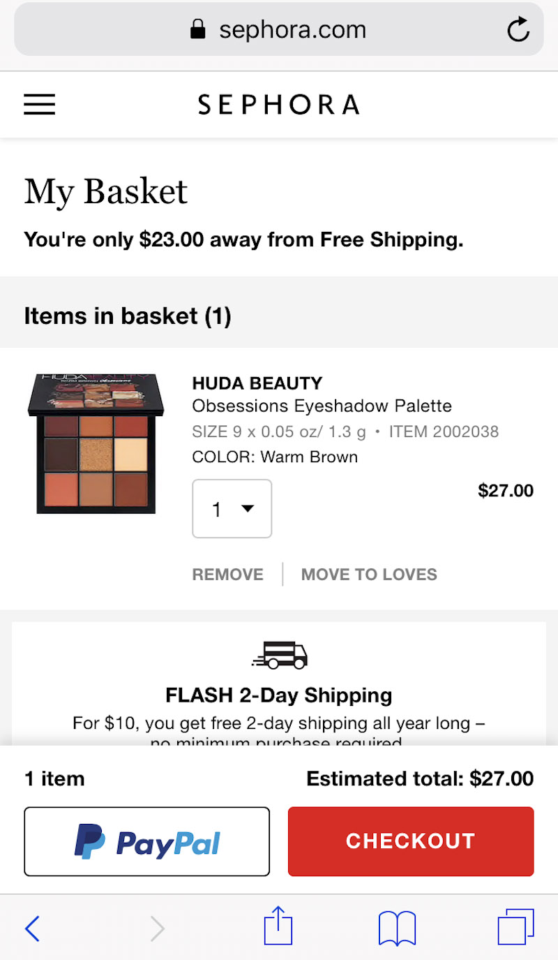 Mobile Checkout Example Sephora - Chainlink Relationship Marketing