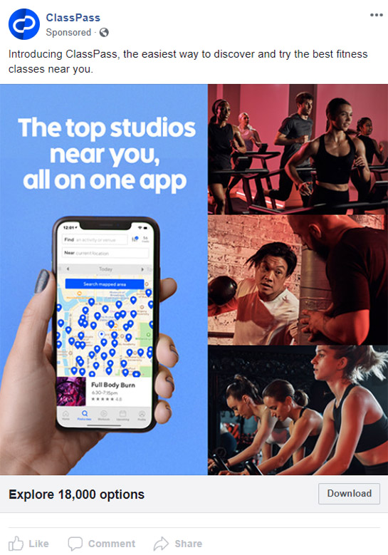 Facebook Ad ClassPass - Chainlink Relationship Marketing