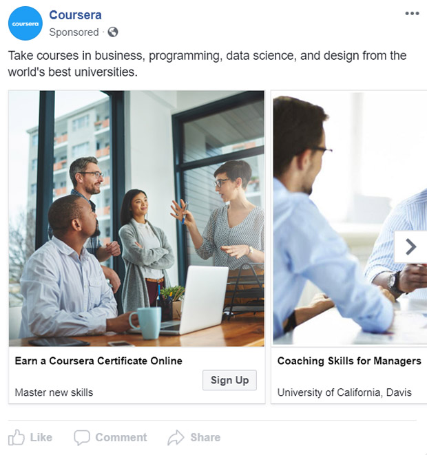 Facebook Ad Coursera - Chainlink Relationship Marketing