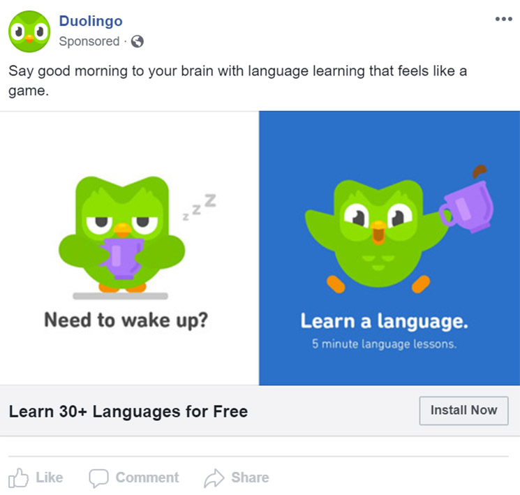 Facebook Ad Duolingo -  Chainlink Relationship Marketing