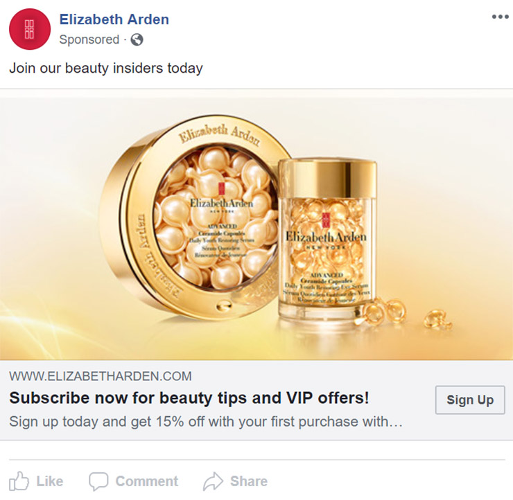 Facebook Ad Elizabeth Arden - Chainlink Relationship Marketing