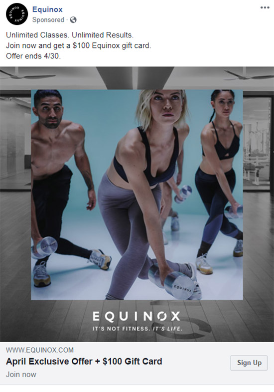 Facebook Ad Equinox - Chainlink Relationship Marketing