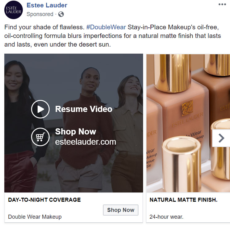 Facebook Ad Estee Lauder - Chainlink Relationship Marketing