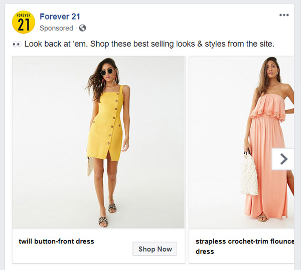 Facebook Carousel Ad Example Image Forever 21 - Chainlink Relationship Marketing