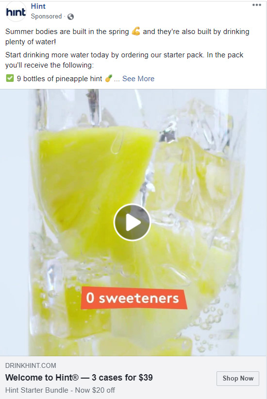 Facebook Ad Hint Water - Chainlink Relationship Marketing