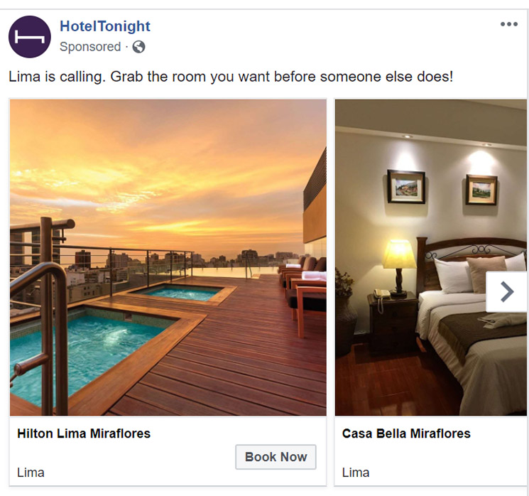 Facebook Ad HotelTonight - Chainlink Relationship Marketing