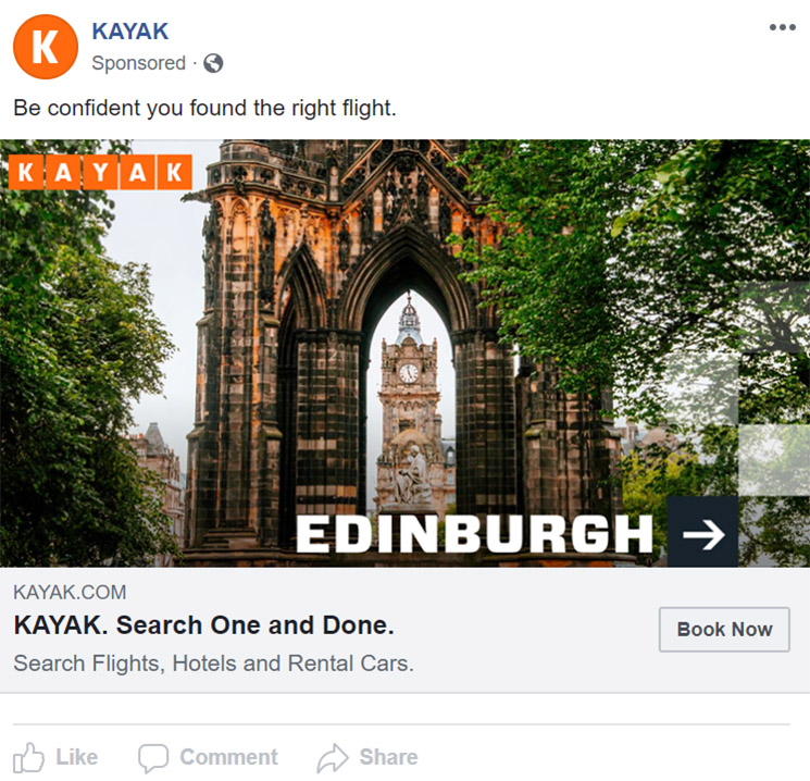 Facebook Ad KAYAK - Chainlink Relationship Marketing