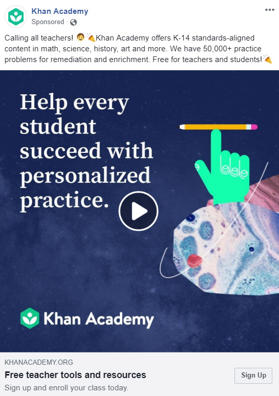 Facebook Ad Khan Academy - Chainlink Relationship Marketing