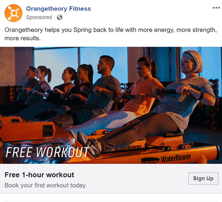 Facebook Ad Orangetheory Fitness - Chainlink Relationship Marketing