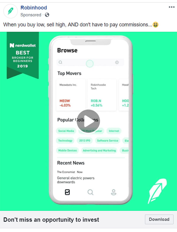 Facebook Ad Robinhood - Chainlink Relationship Marketing