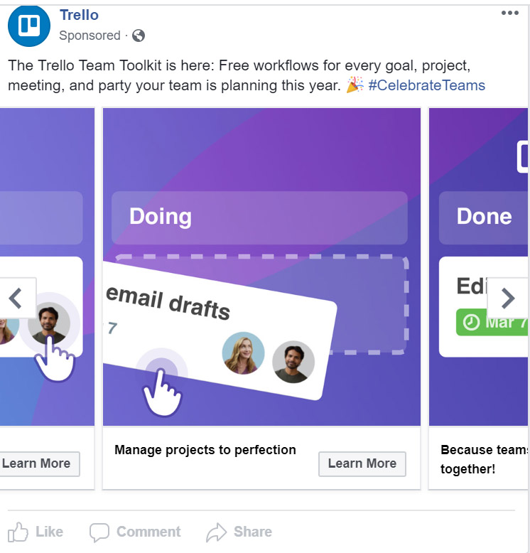 Facebook Ad Trello - Chainlink Relationship Marketing