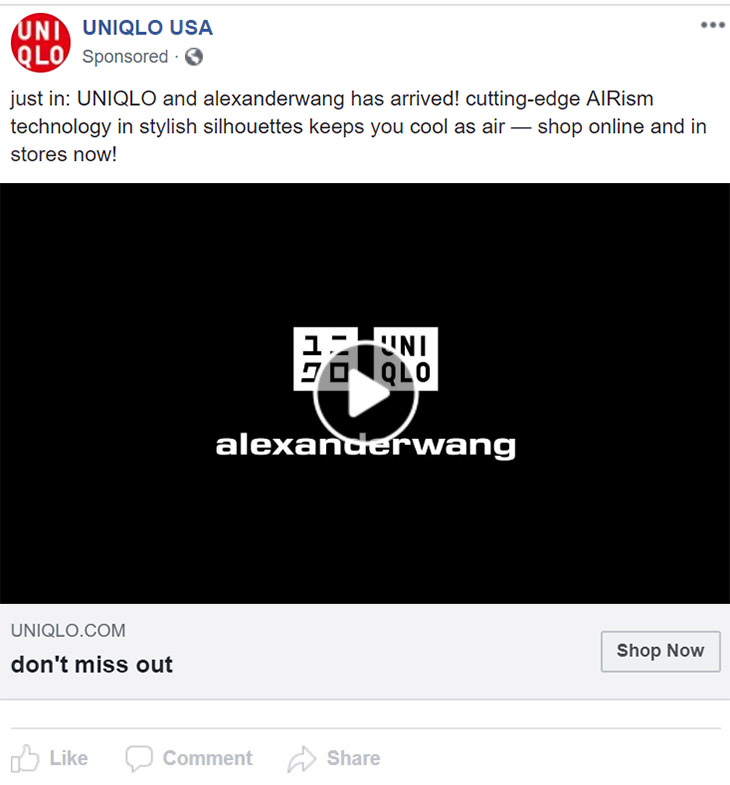 Facebook Ad Uniqlo - Chainlink Relationship Marketing
