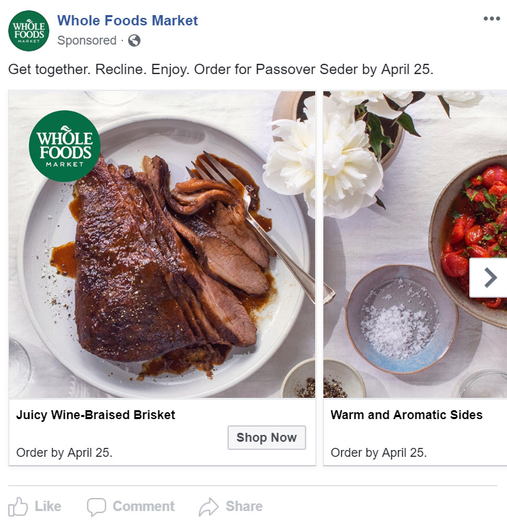 Facebook Ad Whole Foods - Chainlink Relationship Marketing