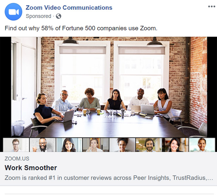 Facebook Ad Zoom Communications - Chainlink Relationship Marketing