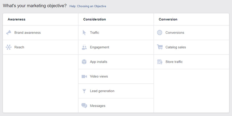 Facebook Ads - Choose Objective - Chainlink Relationship Marketing