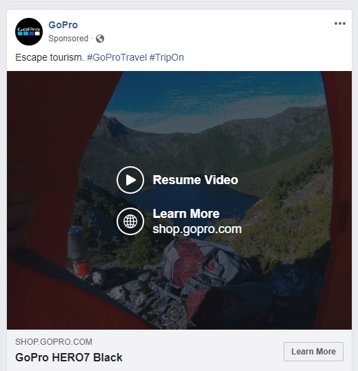 Facebook Video Ad Example Image GoPro - Chainlink Relationship Marketing