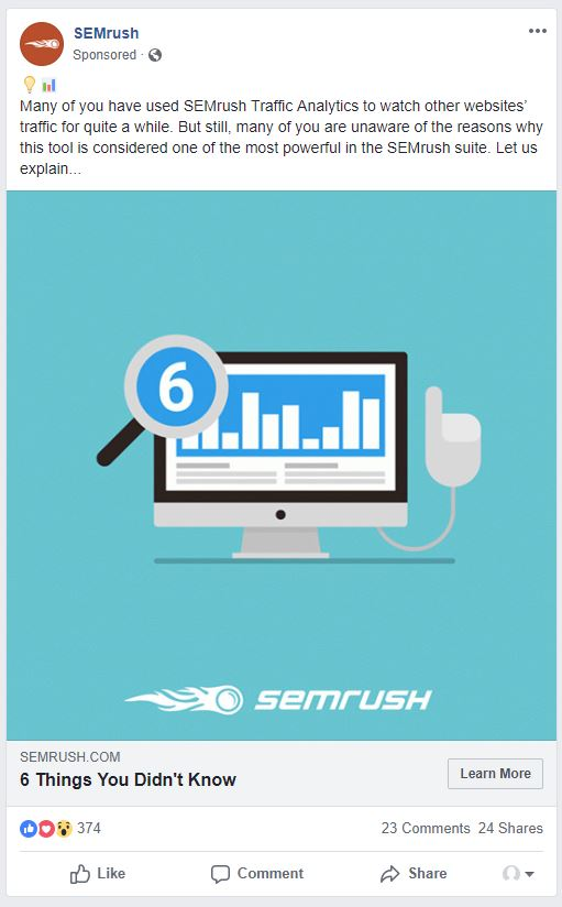 SEMrush Facebook Ad Example - Chainlink Relationship Marketing