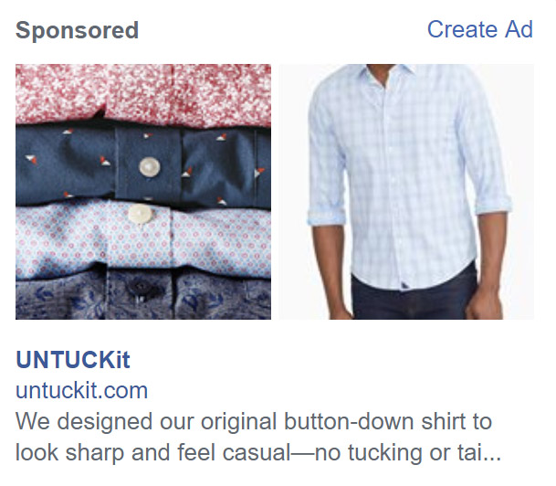 UntuckIt Right Column Facebook Ad - Chainlink Relationship Marketing