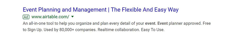 Airtable Event Management Google Ad Example - Chainlink Relationship Marketing