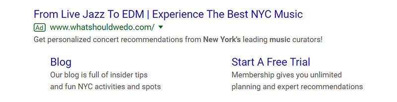 Best NYC Music Google Ad Example - Chainlink Relationship Marketing