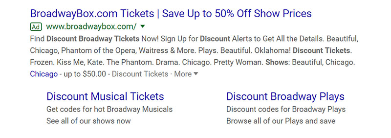 BroadwayBox Google Ad Example - Chainlink Relationship Marketing